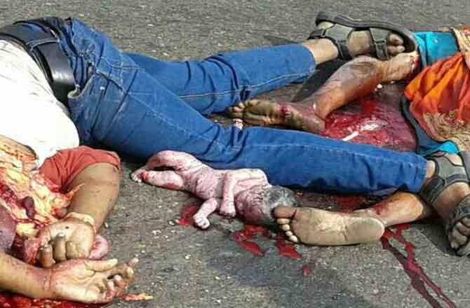 ट्रक की टक्कर से बाइक सवार महिला बच्चे व युवक  की मौके पर मौत